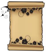 Scroll with flowers Stock Illustration