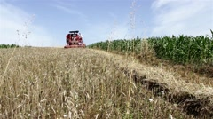 Wheat harvest.Harvester working in wheat field,wide angle view. Stock Footage
