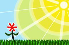 Sunshine above green grass - stock illustration