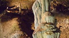 Stalactite in cave system Punkevní jeskyně Stock Footage