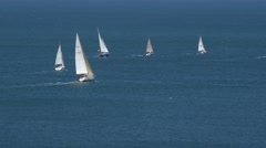 Regatta, yachts racing in the sea, La Manga, Spain. Stock Footage