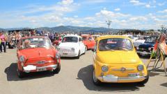 Fiat 500 convoy motorcar festival1 Stock Footage
