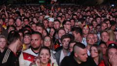 Suspense Drama Supporters Fans German Crowd Enjoy Football Match Public Viewing - stock footage