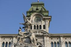 town square piazza unita in trieste, italia - stock photo
