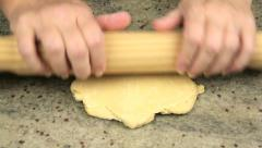 Flattening Dough Making Fresh Pasta Stock Footage
