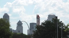 Timelapse St. Louis skyline and clouds Stock Footage