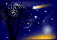 comet and tree - stock illustration