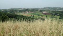 Panoramic view of countryside,village on the hill,establishment shot. Stock Footage
