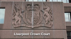 liverpool crown court insignia and building, england - stock footage
