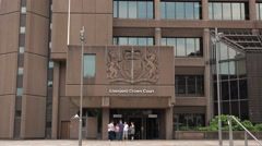 Liverpool crown court insignia and building, england Stock Footage