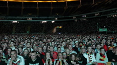 Pan Left Panoramic View People Watching Football Match Germany Team Supporters Stock Footage