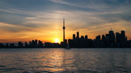 Stock Video Footage of Toronto Skyline and Lake Ontario at Sunset (Canada)