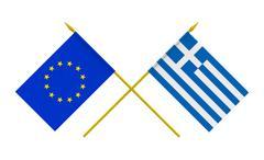 flags, greece and european union - stock illustration