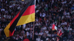 National German Flags People Audience Championship Game Cheerful People Mass Stock Footage
