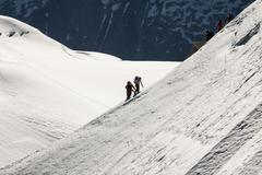 the view from aiguille du midi during acclimatization and climb on mont blanc - stock photo