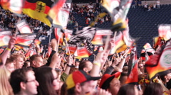 German Happy Crowd People Waving Flags Celebrating Cheering Germany Team Europe - stock footage