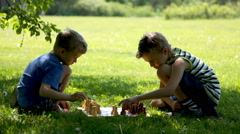 boys playing chess in the park - stock footage