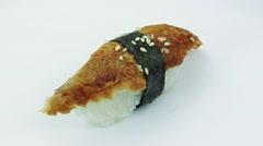 Nigiri sushi with smoked eel  Stock Footage