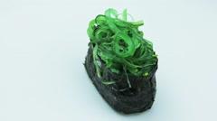 Gunkan sushi with pickled seaweed Stock Footage