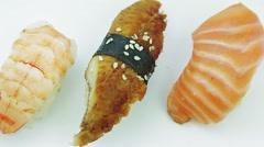 Nigiri sushi set with tuna, shrimp and eel Stock Footage