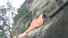 The view of the climb to the Rock Fortress in Sigiriya, Sri Lanka. Stock Footage