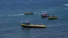 Diving boats in the sea, La Manga, Spain. Stock Footage