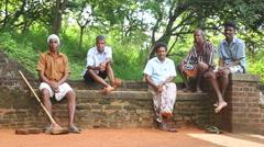 The view of local workers resting in Sigiriya, Sri Lanka. Stock Footage