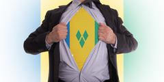 business man with saint vincent and the grenadines flag t-shirt - stock illustration