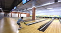 little boy plays bowling in the entertainment center 1 Footage