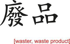 Chinese Sign for waster, waste product - stock illustration