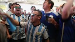 "Argentina fans sing ""Brasil, decime que se siente"" in 2014 World Cup Stock Footage"