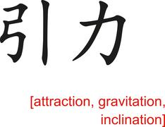 Chinese Sign for attraction, gravitation, inclination - stock illustration
