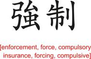 Stock Illustration of Chinese Sign for enforcement, force, compulsory insurance