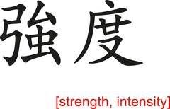 Chinese Sign for strength, intensity - stock illustration