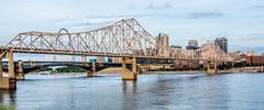 Eads bridge, and martin luther king bridge as seen from the mississippi river Stock Photos