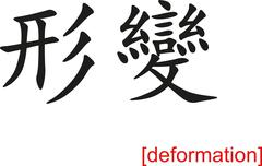 Chinese Sign for deformation - stock illustration
