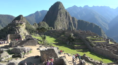 Machu Picchu & Huayna Picchu good view with tourists s Stock Footage