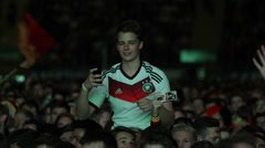Cute Young Boy Have Fun Enjoy Public Viewing Football Match Friend Up Shoulders Stock Footage