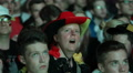Funny Woman Portrait Wide Open Mouth Focus German Football Match Audience People Footage