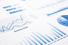 Blue business charts, graphs, statistic and reports Stock Photos