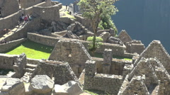 Machu Picchu dwellings without roofs s Stock Footage