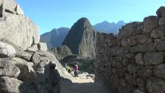 Machu Picchu & Huayna Picchu family exploring Stock Footage