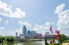 nashville, tennessee downtown skyline and streets - stock photo