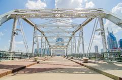 pedestrian bridge in downtown of nashville, tennessee - stock photo