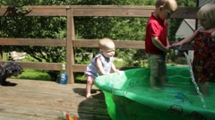 1 year old snuffs and stands by pool Stock Footage
