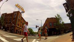 People Tourists Crossing Intersection Downtown Flagstaff Arizona Stock Footage