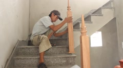 Carpenter make stairs Stock Footage