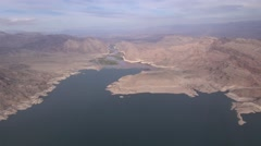 Aerial Lake Mead Boulder City Hoover Dam Nevada Stock Footage