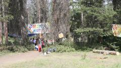 Rainbow Gathering Banners in Trees 4k Stock Footage