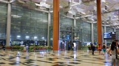 4K UHD time lapse video of Changi Airport Terminal 3 arrival hall, Singapore Stock Footage